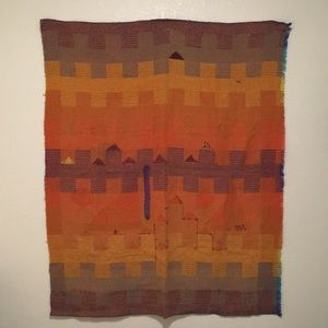 Woven wool colorful tapestry or blanket
